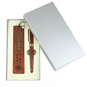 WM107 高級紅木鋼珠筆+紅木書籤禮盒